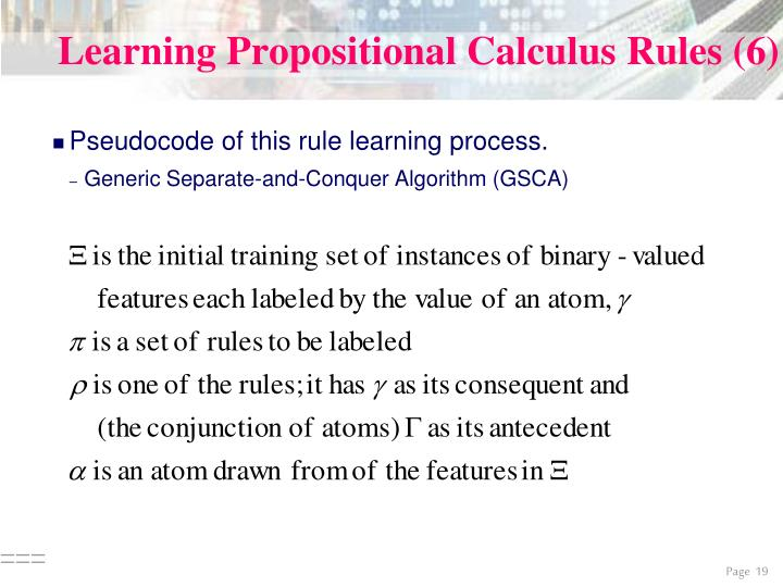 Learning Propositional Calculus Rules (6)