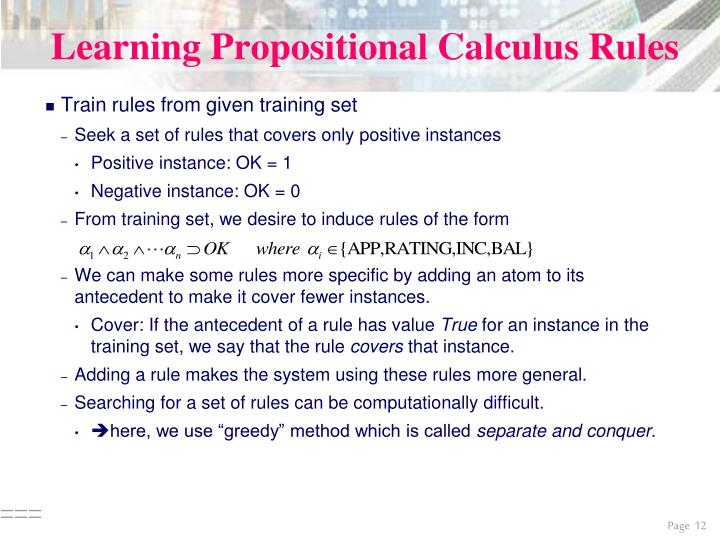 Learning Propositional Calculus Rules
