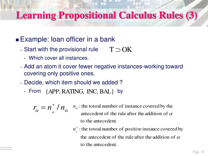 Learning Propositional Calculus Rules (3)