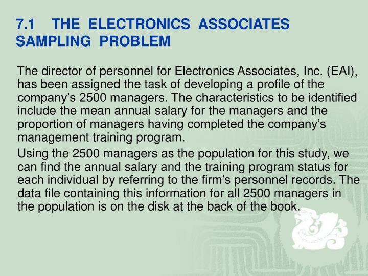 7.1    THE  ELECTRONICS  ASSOCIATES   SAMPLING  PROBLEM