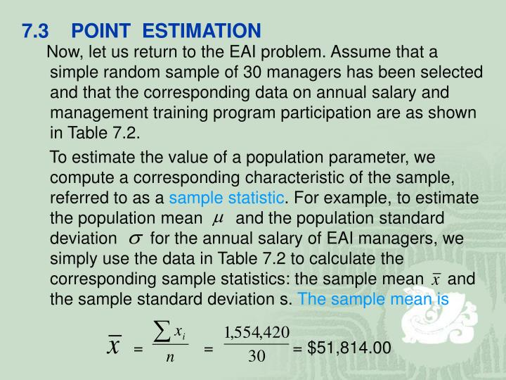 7.3    POINT  ESTIMATION