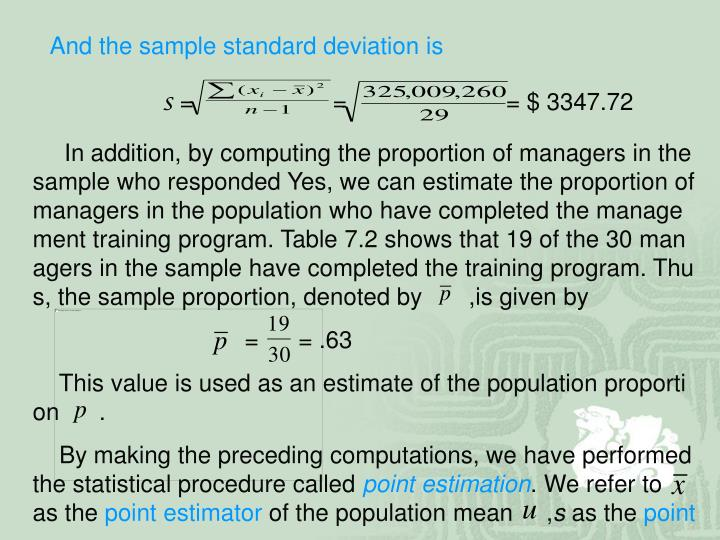 And the sample standard deviation is