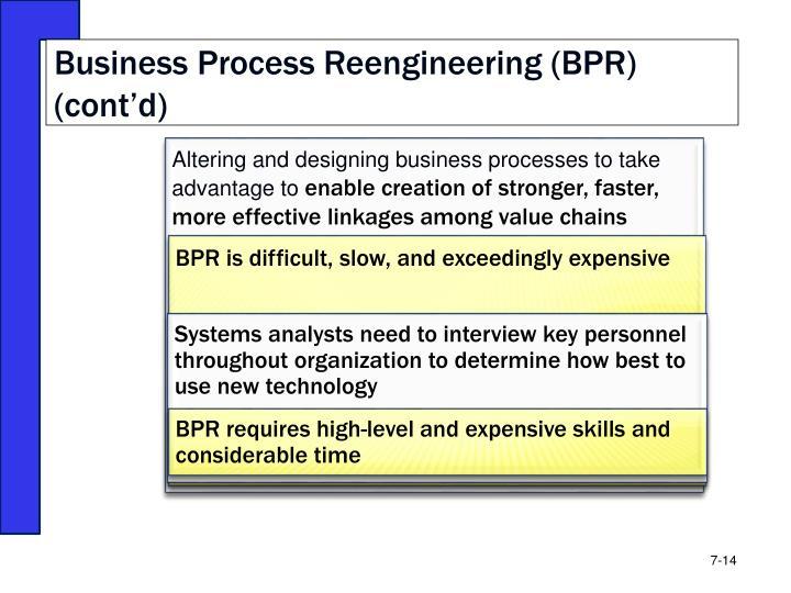 Business Process Reengineering (BPR) (cont'd)