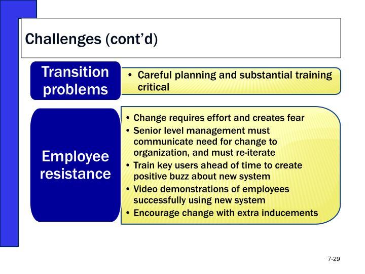 Challenges (cont'd)