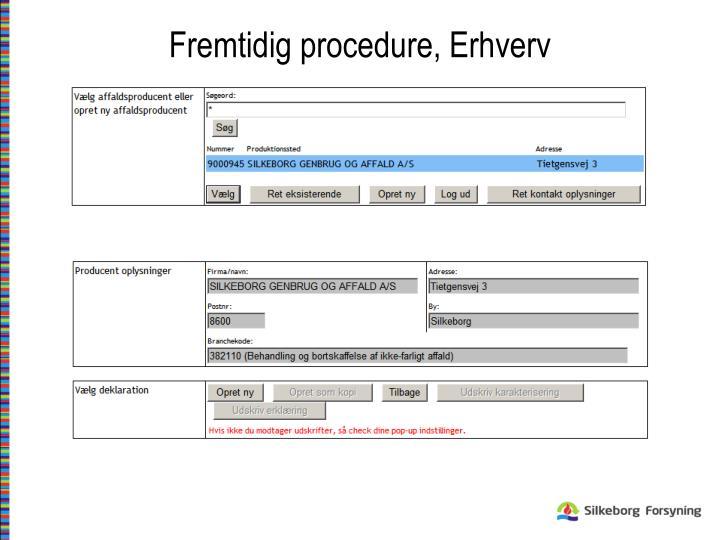 Fremtidig procedure, Erhverv
