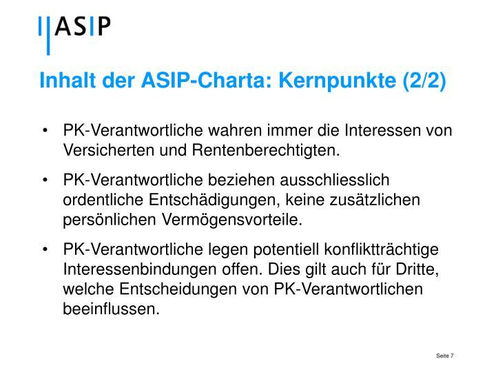 Inhalt der ASIP-Charta: Kernpunkte (2/2)