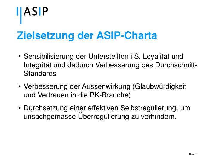 Zielsetzung der ASIP-Charta