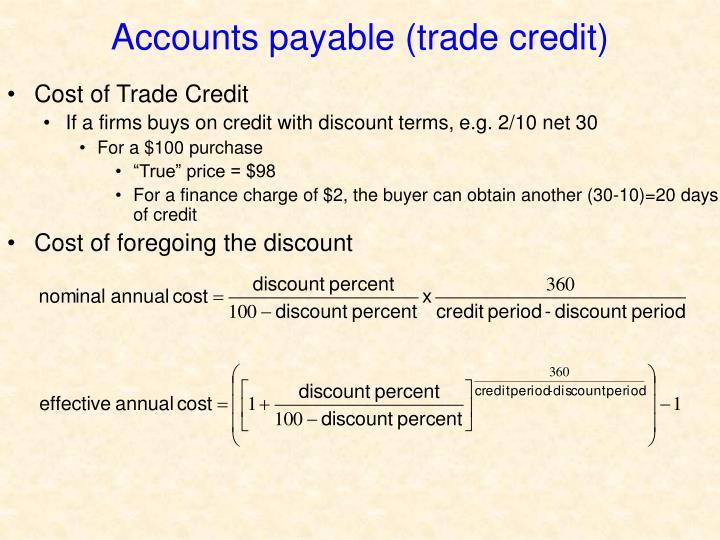 Accounts payable (trade credit)