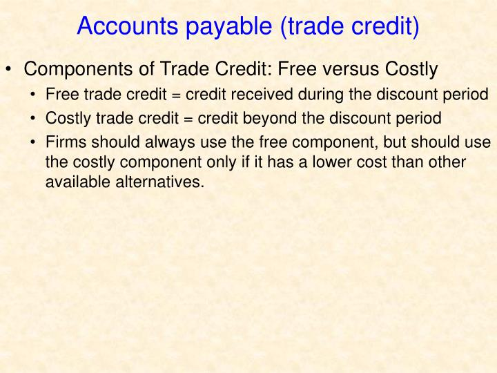 Accounts payable (trade credit)