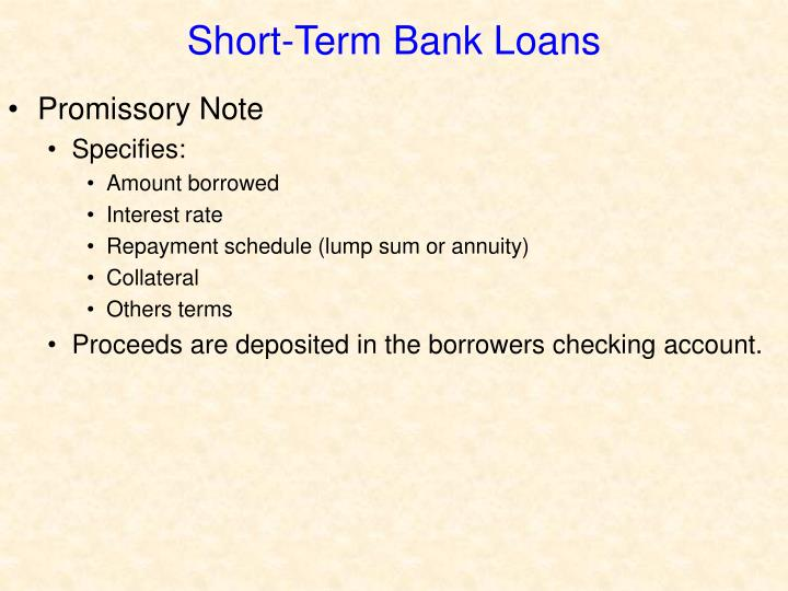 Short-Term Bank Loans