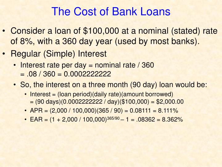 The Cost of Bank Loans