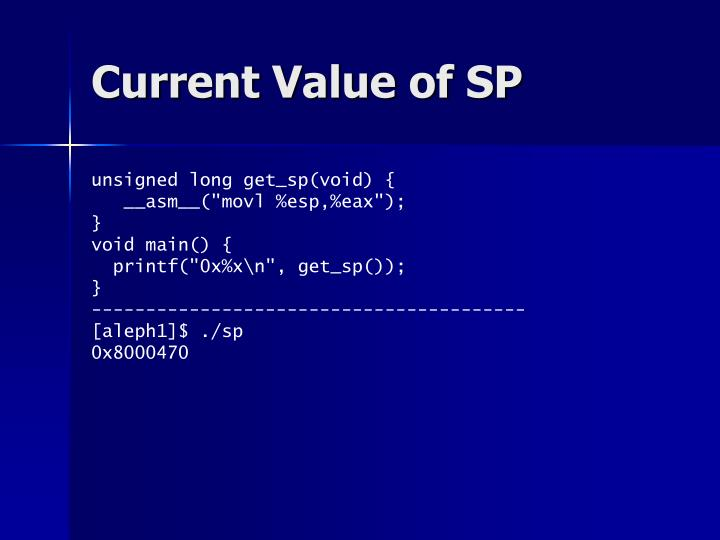 Current Value of SP