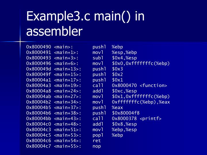 Example3.c main() in assembler