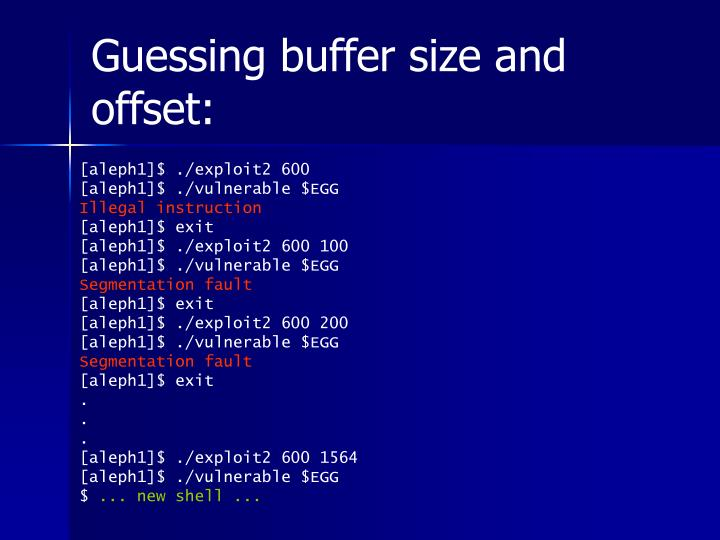 Guessing buffer size and offset: