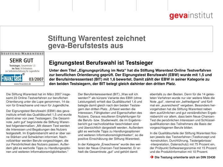 """Unter dem Titel """"Eignungsprüfung im Netz"""" hat die Stiftung Warentest Online Testverfahren"""