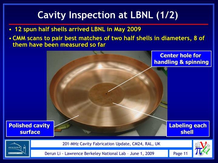 Cavity Inspection at LBNL (1/2)