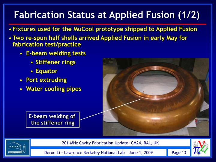 Fabrication Status at Applied Fusion (1/2)