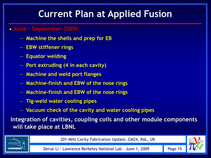 Current Plan at Applied Fusion