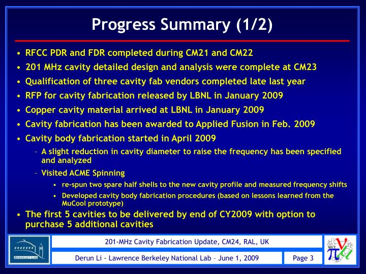 RFCC PDR and FDR completed during CM21 and CM22