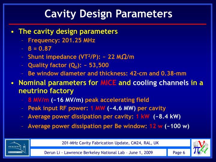 Cavity Design Parameters