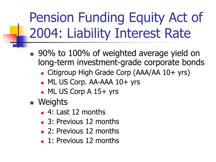 Pension Funding Equity Act of 2004: Liability Interest Rate