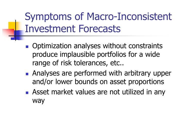 Symptoms of Macro-Inconsistent Investment Forecasts