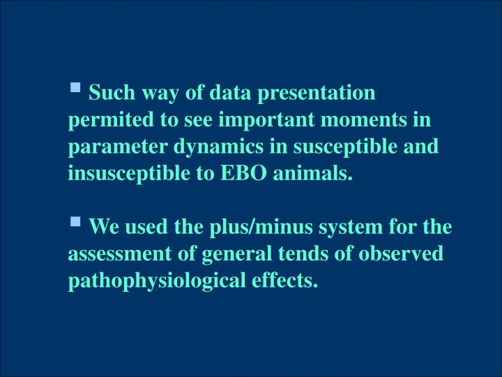 Such way of data presentation permited to see important moments in parameter dynamics in susceptible and insusceptible to EBO animals.