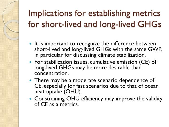 Implications for establishing metrics for short-lived and long-lived GHGs