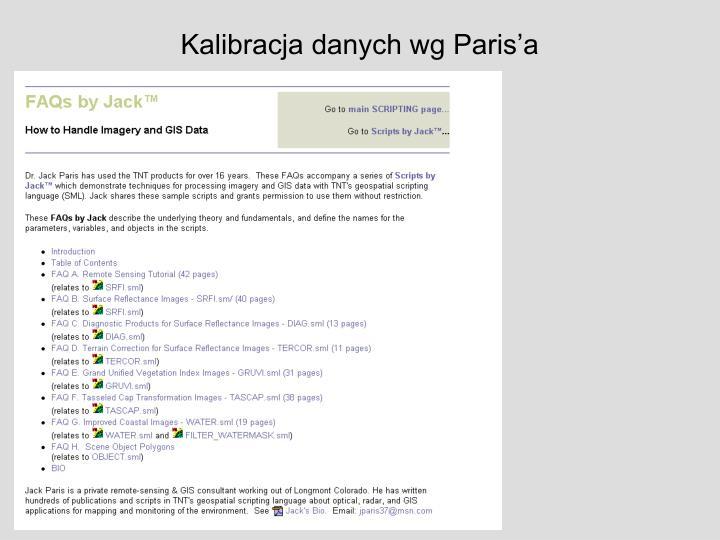 Kalibracja danych wg Paris'a