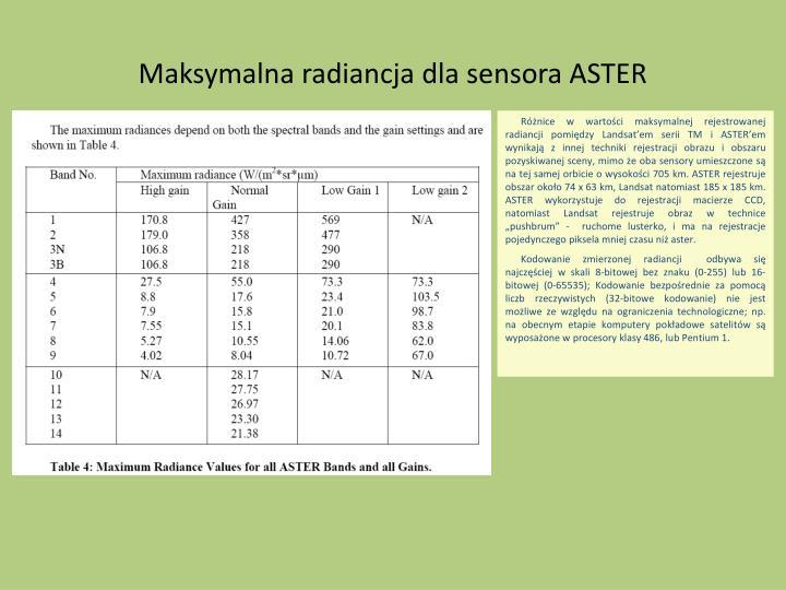 Maksymalna radiancja dla sensora ASTER