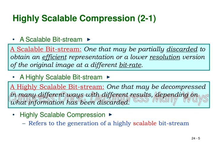 Highly Scalable Compression (2-1)