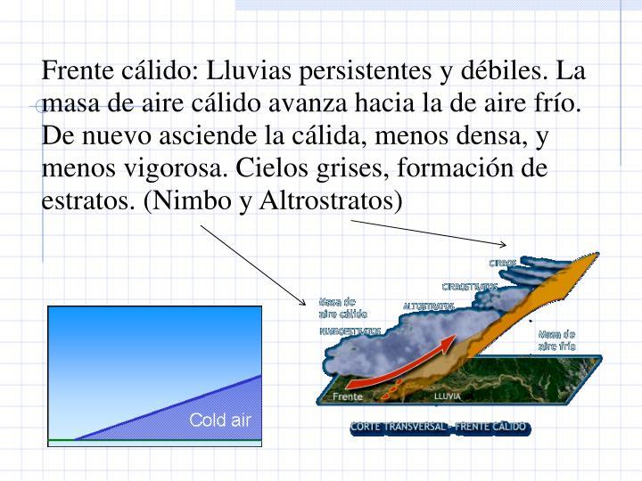 Frente clido: Lluvias persistentes y dbiles. La masa de aire clido avanza hacia la de aire fro. De nuevo asciende la clida, menos densa, y menos vigorosa. Cielos grises, formacin de estratos. (Nimbo y Altrostratos)