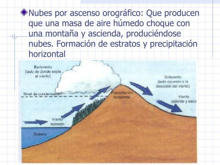 Nubes por ascenso orogrfico: Que producen que una masa de aire hmedo choque con una montaa y ascienda, producindose nubes. Formacin de estratos y precipitacin horizontal