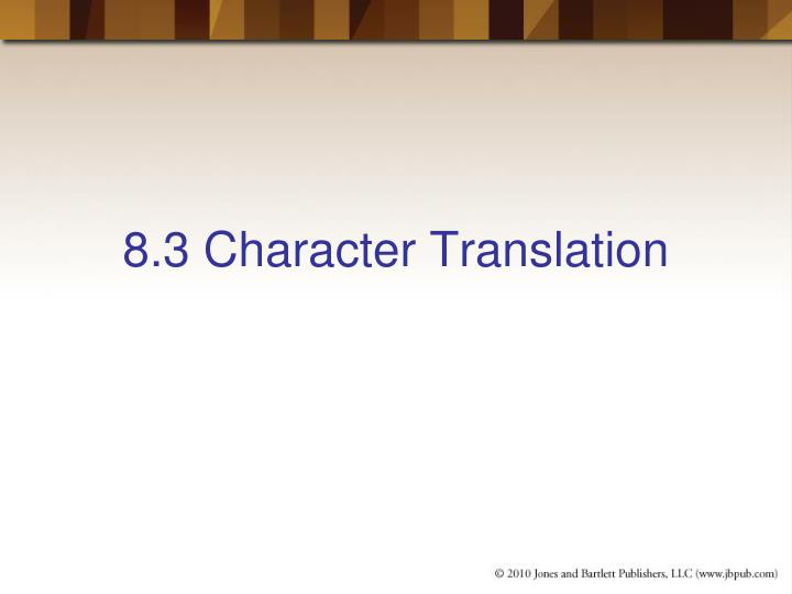 8.3 Character Translation