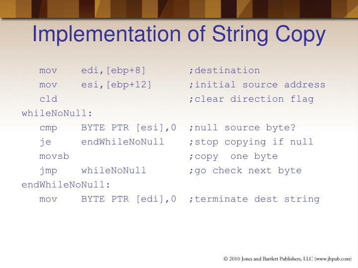 Implementation of String Copy