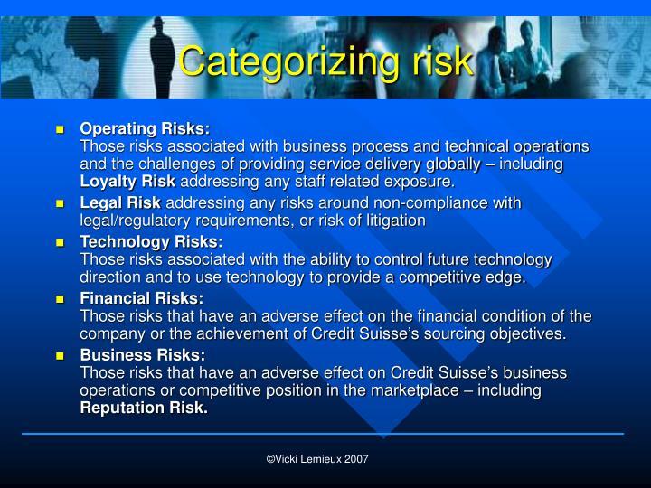 Categorizing risk