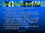 credit suisse a case in point