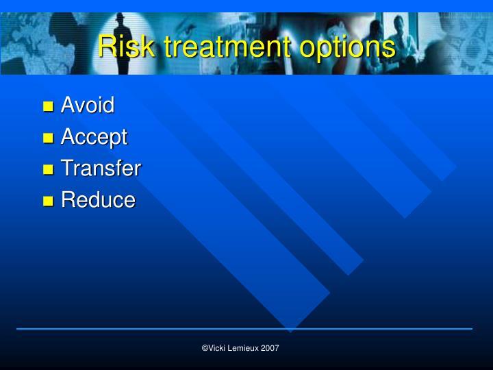 Risk treatment options
