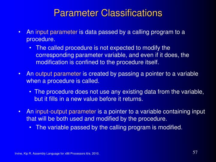 Parameter Classifications