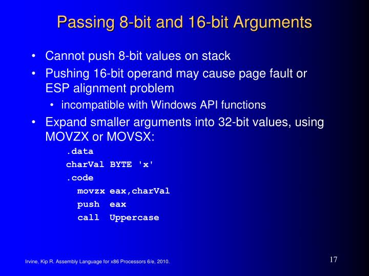 Passing 8-bit and 16-bit Arguments