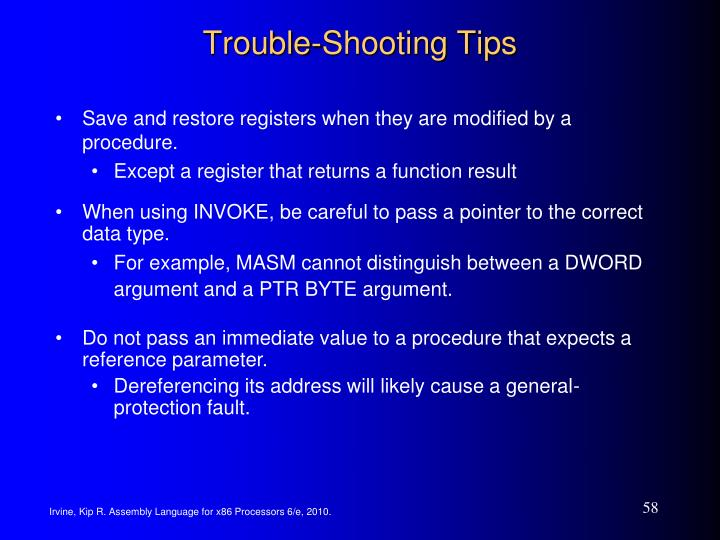 Trouble-Shooting Tips