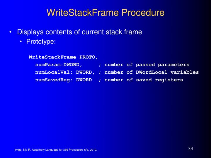 WriteStackFrame Procedure
