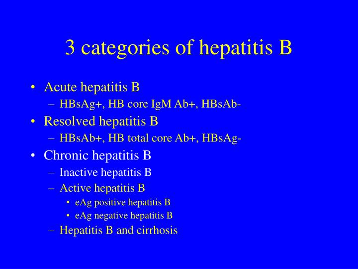 3 categories of hepatitis B