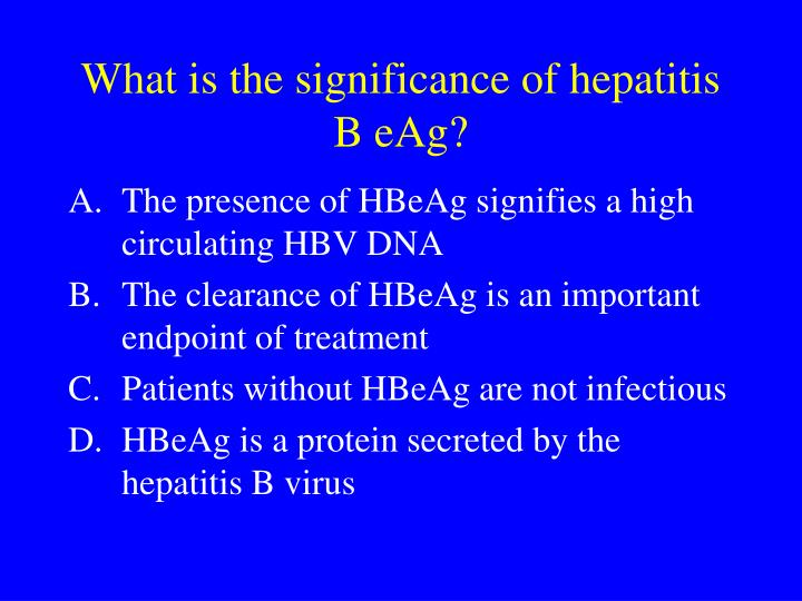 What is the significance of hepatitis B eAg?