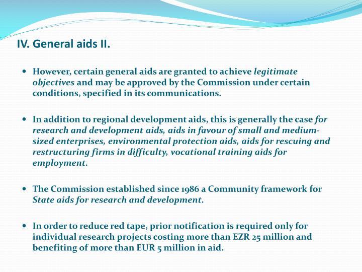 IV. General aids II.