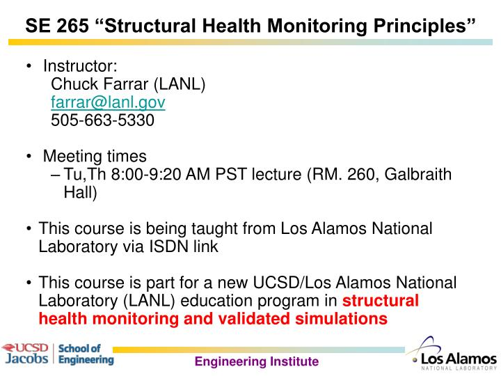 "SE 265 ""Structural Health Monitoring Principles"""