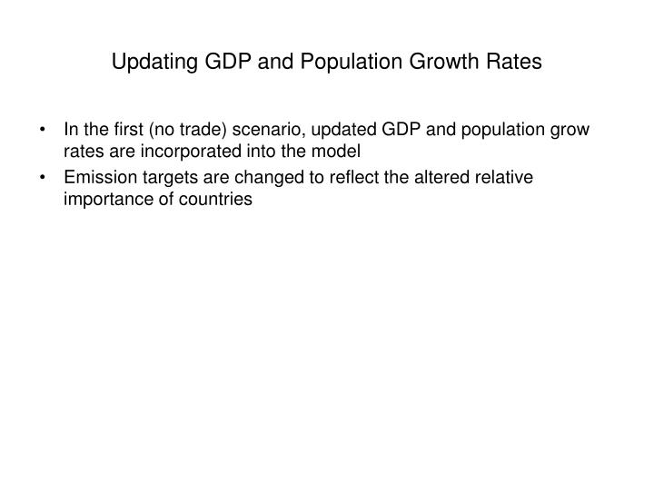 Updating GDP and Population Growth Rates
