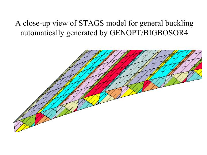 A close-up view of STAGS model for general buckling automatically generated by GENOPT/BIGBOSOR4