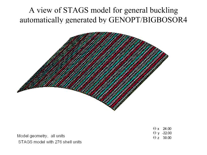 A view of STAGS model for general buckling automatically generated by GENOPT/BIGBOSOR4