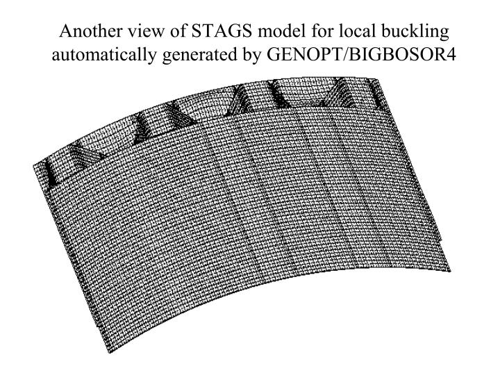 Another view of STAGS model for local buckling automatically generated by GENOPT/BIGBOSOR4